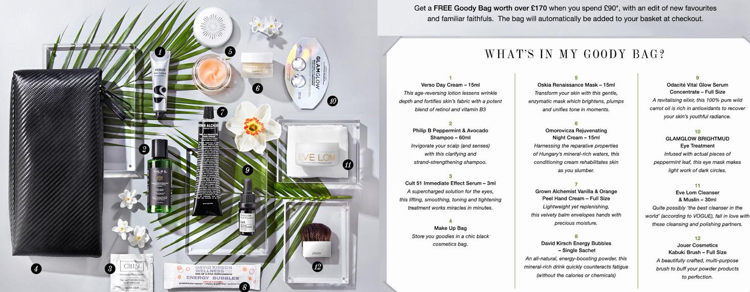 Goody Bag Contents free makeup cult beauty