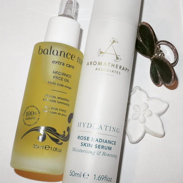 Balance Me Radiance rose face oil and Aromatherapy Associates hydrating rose radiance skin serum