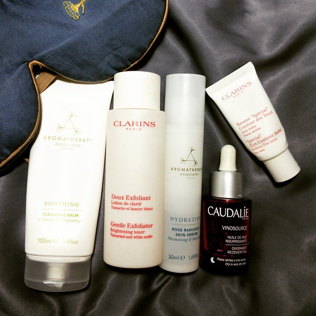 Evening skincare routine makeup4all aromathepapy associates clarins caudalie