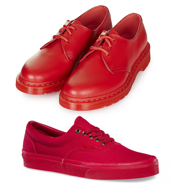 Red Shoes Dr Martens and Vans Makeup4all