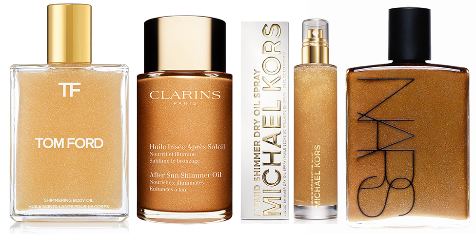 Golden Shimmer Body Oils Tom Ford NARS Clarins Michael Kors SS15 makeup4all