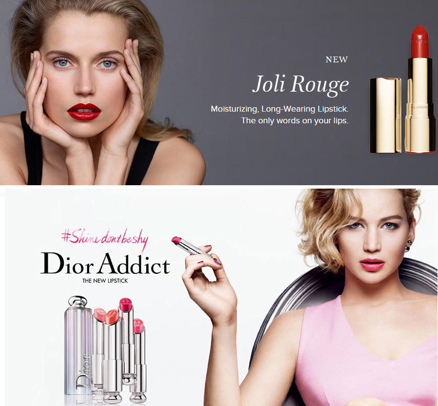 Clarins Joli Rouge and Dior Addict lipsticks promo AW15 makeup4all