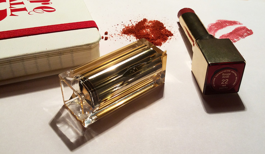 Clarins Rouge Eclat Lipstick in  22 Red Paprika Review and Swatches 1