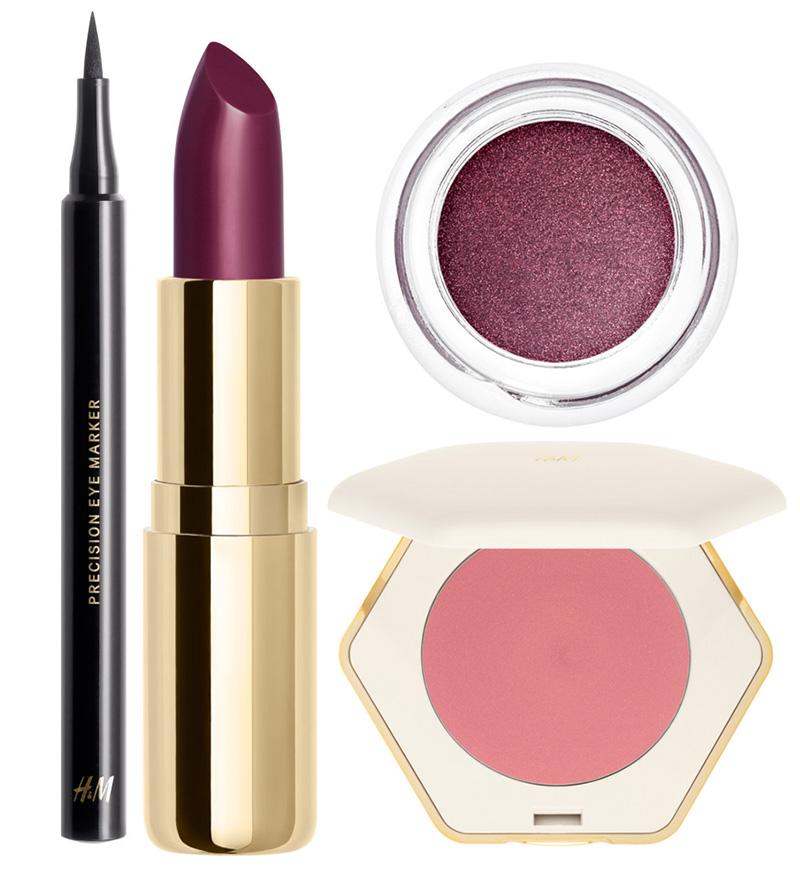H & M makeup eye liner, lipstick, cream blush and cream eye shadows