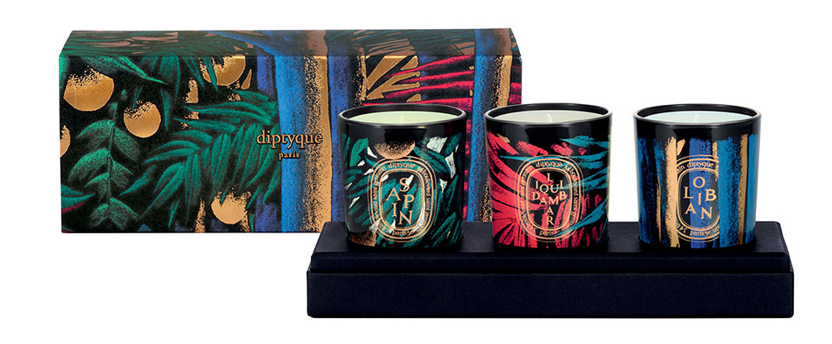 Diptyque 3 Candle Set, Colored Glass holiday 2015