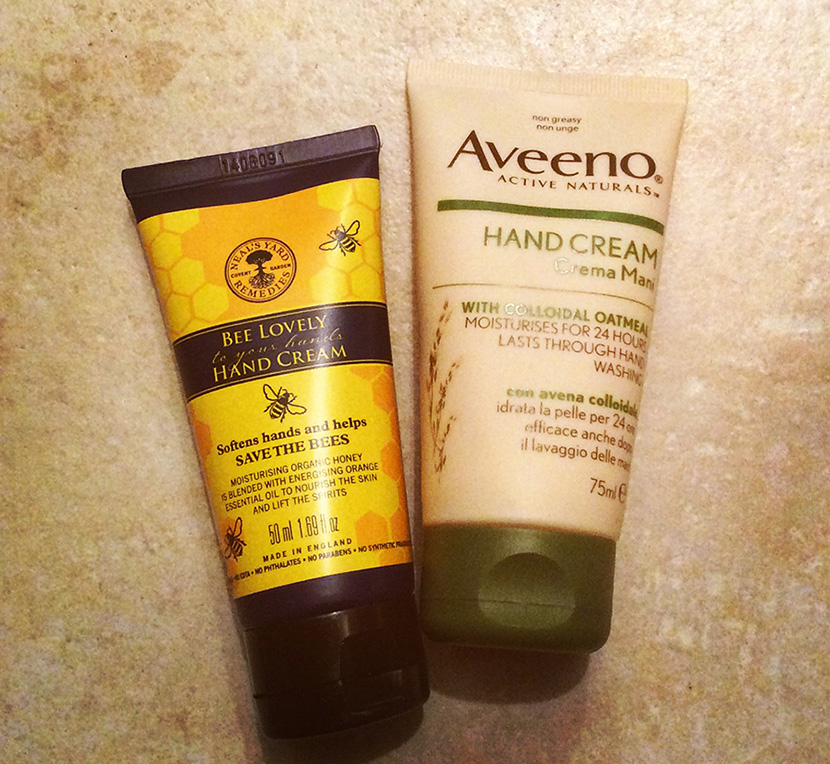 Aveeno hand cream with colloidal oatmeal and Neals yard remedies bee lovely to your hands hand cream