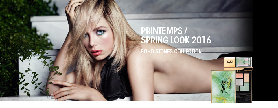 YSL  Boho Stones Makeup Collection for Spring 2016 promo Edie Campbell