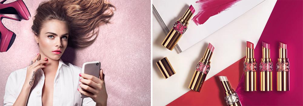 YSL's Volupte Shines lipsticks spring 2016 cara delevigne
