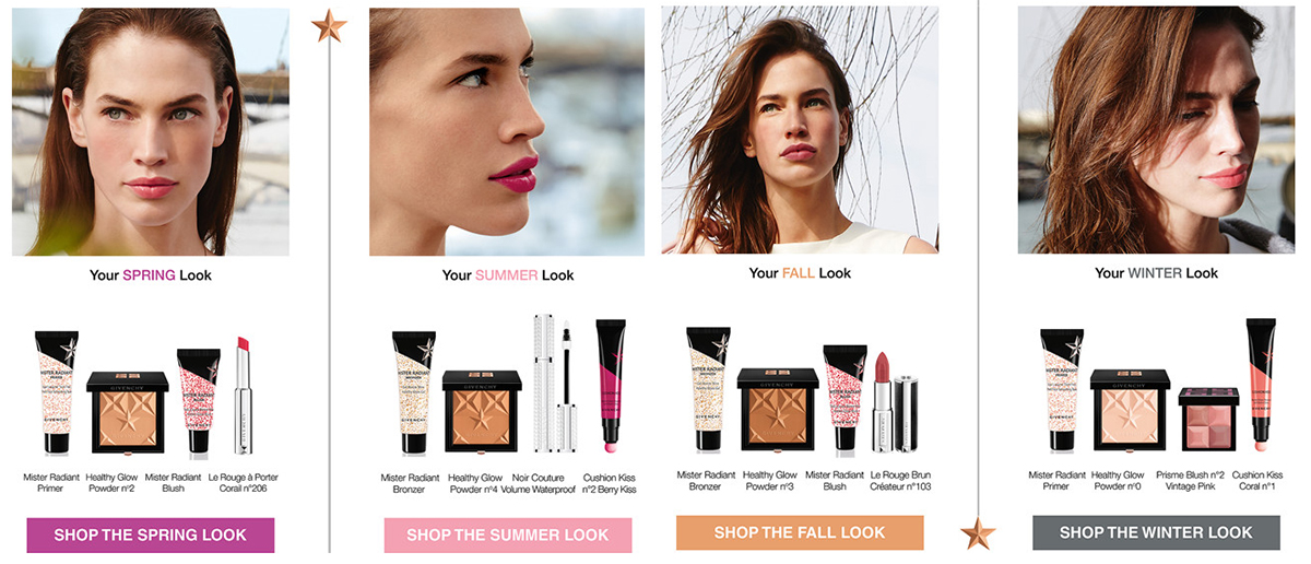 Givenchy Les Saisons Makeup Collection for Summer 2016 spring, summer, autumn and winter looks