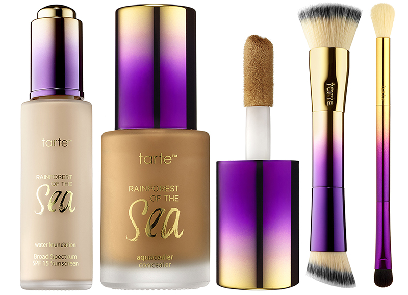 tarte Raiforest of the Sea Makeup Collection for Summer 2016 foundation, concealer and brushes