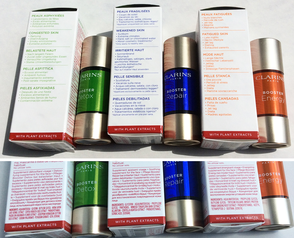 Clarins skincare Boosters Energy Repair Detox ingredients