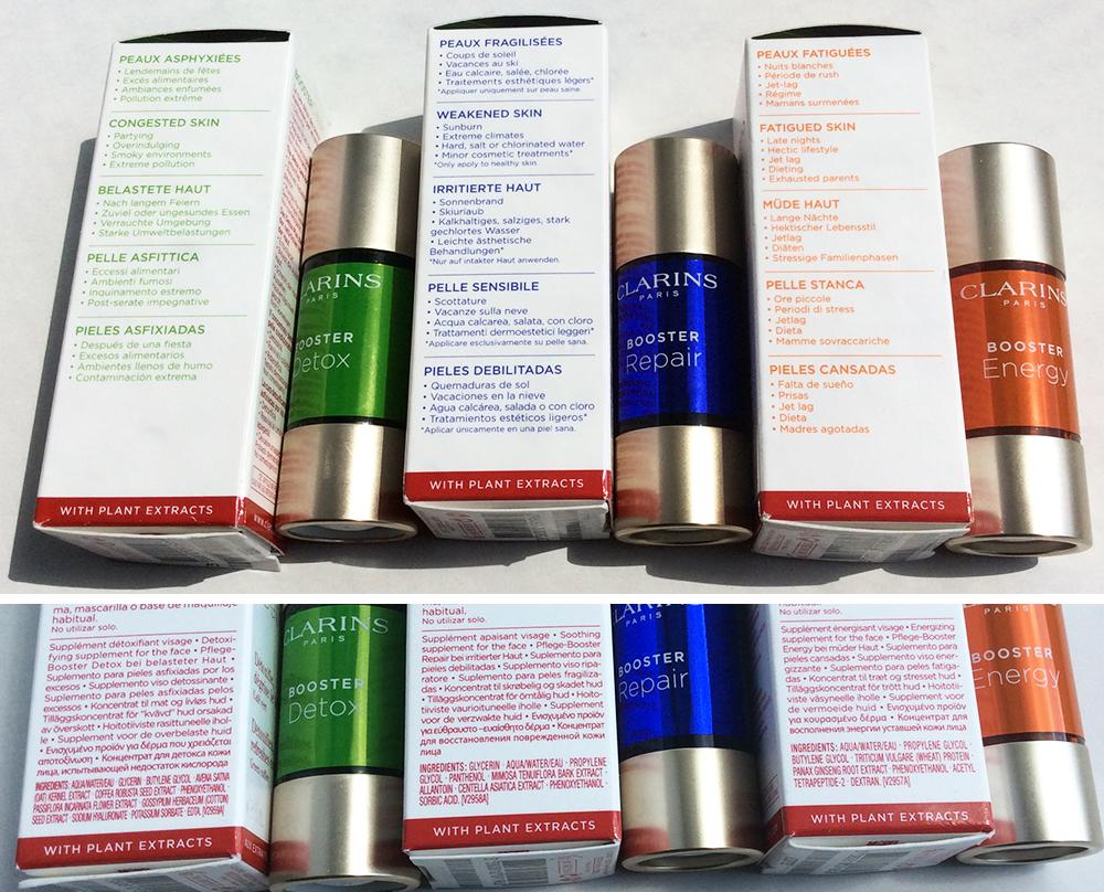 Clarins skincare Boosters Energy Repair Detox ingredients