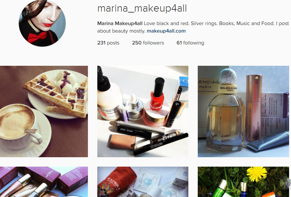 Marina Makeup4all Instagram