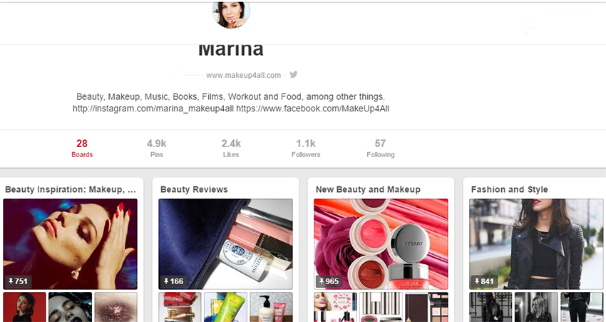 Marina Makeup4all Pinterest