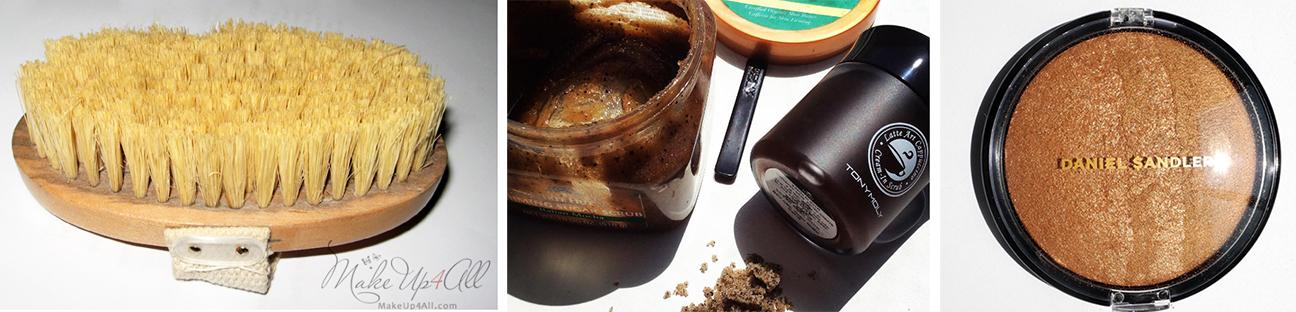 Elemis-Skin-Brush-Review-and-Photos Coffee Scrubs and Daniel Sandler shimmering body powder