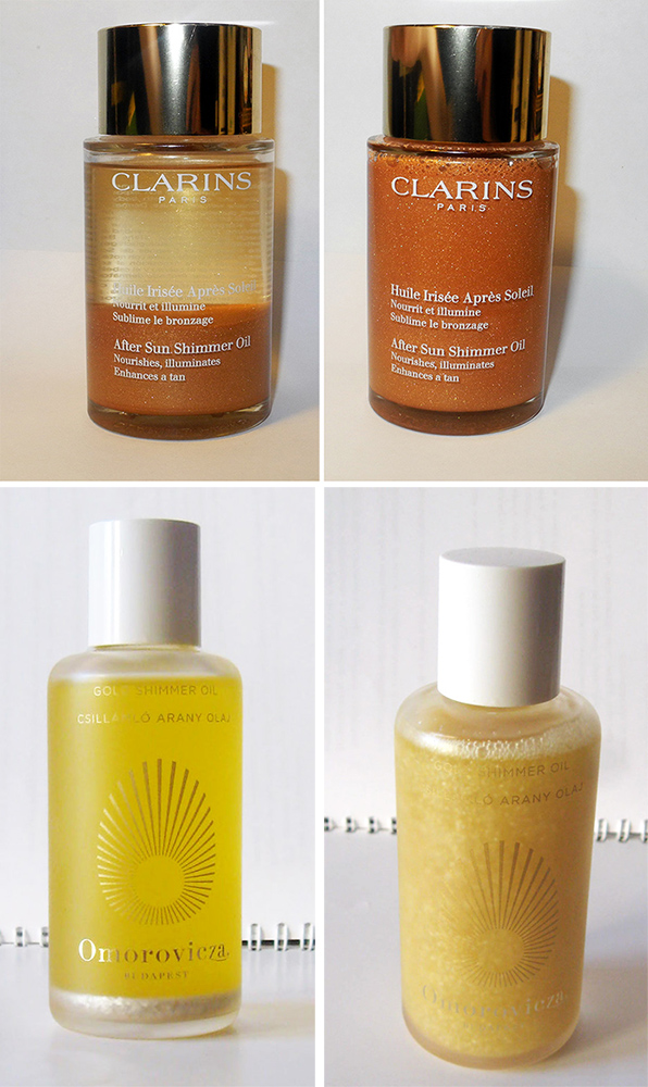 Shimmering Body Oils Clarins-After-Sun-Shimmer-Oil-review and Omorovicza Gold Shimmer Oil