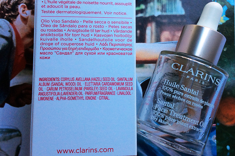 Clarins Santal Face Treatment Oil Review ingredients