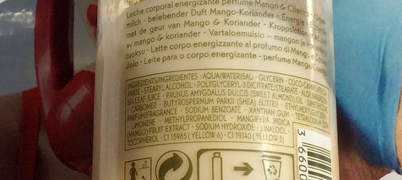 Yves Rocher Mango Coriander Energizing Body Lotion Review ingredients